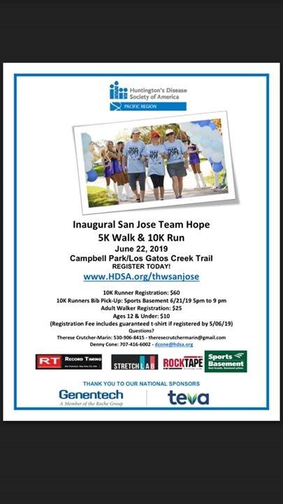 San Jose Team Hope 5K Walk/10K Run | Downtown Campbell