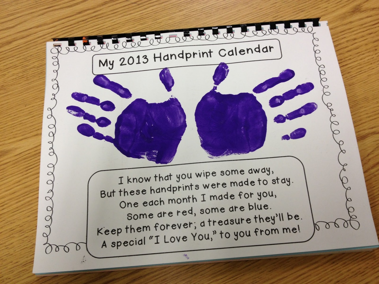 Calendar Preschool Crafts : Holiday handprint calander workshop downtown campbell